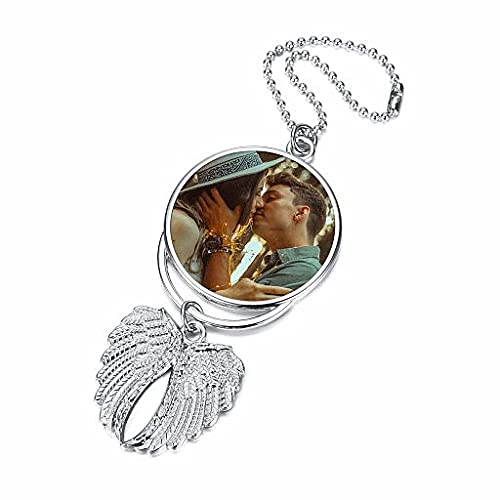 BOPREINA Double Side Photo Personalized Engraving Car Hanging Picture Frame Holder Car Accessories Full Color Custom Angel Wings Pendant Ornament for Rear View Mirror Car Hanging Charm Silver