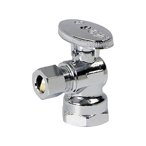 MIDLINE VALVE 81114QS-OM Water Supply Stop Valve with Quarter Turn Wheel; Lead Free; One Piece Design; Angle Shut-off for Toilet, Sink, Dishwasher; 1/2 in. FIP x 1/4 in. O.D. COMP; Chrome Plated Brass