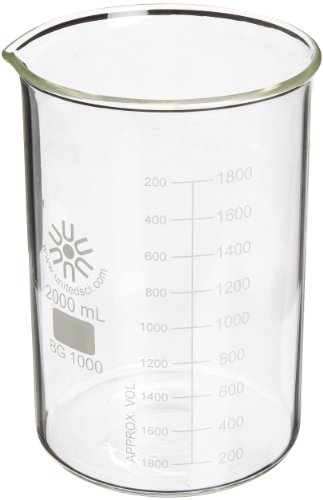 United Scientific BG1000-2000 Borosilicate Glass Low Form Beaker, 2000ml Capacity