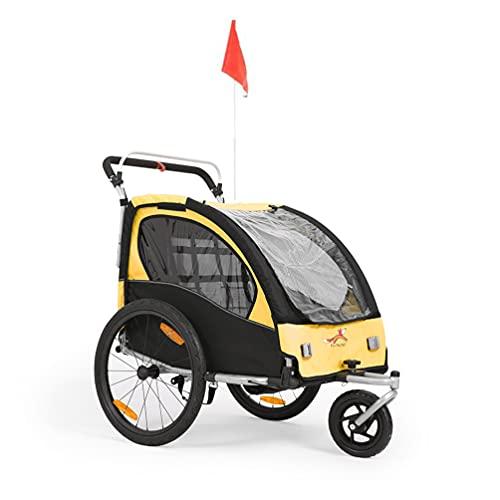 Sepnine Remorque Velo Enfants Convertible Jogger Remorque À Vélo 2 en 1 pour Enfants avec Suspension Jaune