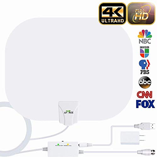 TV Antenna, Indoor Amplified HD Digital HDTV Antenna 200 Miles Long Range Supply for 1080p 4K HD Local Channels Support All TV, 17ft Coax Cable/USB Adapter