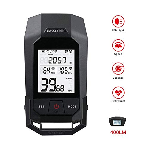 SHANREN Bike Computer - Speedometer and Odometer - Heart Rate Integration - Bluetooth Cycle Computer Multi-Function Large LCD Backlight Display with Cycling Safety Frontlight | Raptor II Pro 400Lm
