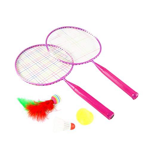 Garneck Badmintonschläger Badminton Set Kinder Federball Farbig Schläger Freizeitspielzeug Kinder Spielen Badminton Spielzeug für Anfänger Kinder (Rosa)