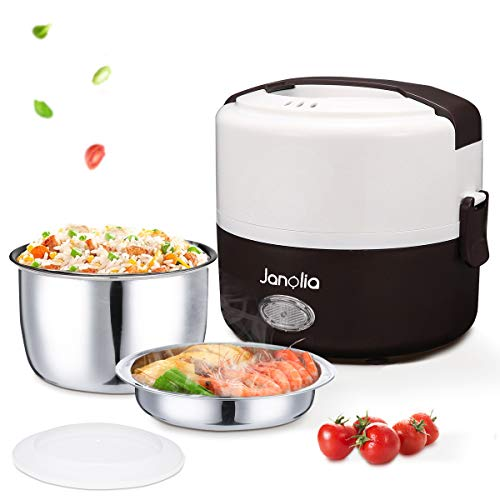 Janolia Electric Lunch Box, Portable Food Lunch Heater, Mini Rice Steamer Cooker, with 2 Removable Stainless Steel Containers, Portable