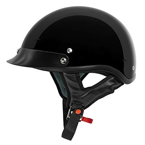 VCAN Cruiser Solid Gloss Black Half Face Motorcycle Helmet (Medium)