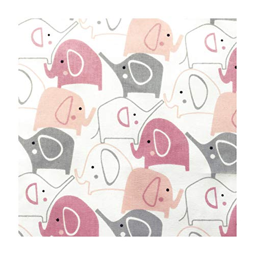 4L Textil Baumwollstoff 100% Stoff Meterware Kinderstoff Baumwolle 50 cm Stoffe zum nähen für Kinder DIY Patchwork Nähen Handwerken Sterne Eulen Grau Weiß Dreiecke Feder (Rosa Elefanten)
