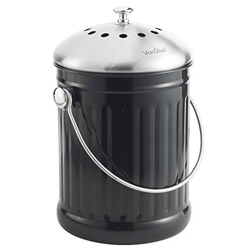 VonShef Poubelle de Table à Compost 4,5L + Poignée et Filtre Anti-Odeur - 18.2 x 28.5cm Acier Inoxydable