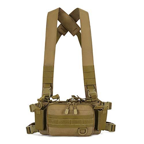Huntvp Chaleco Táctico Militar Chest Rig Tactical Vest Ajustable para CS Caza Airsoft Paintball Al Aire Libre Senderismo, Tipo-2 Marrón