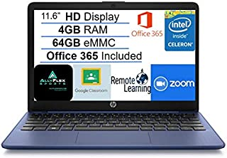 """2021 Newest HP Stream 11.6"""" HD Laptop Computer, Intel Celeron N4020 Processor, 4GB RAM, 64GB eMMC Flash Memory, 1-Year Off..."""