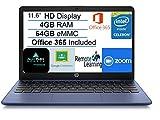 2021 Newest HP Stream 11.6' HD Laptop Computer, Intel Celeron N4020 Processor, 4GB RAM, 64GB eMMC Flash Memory, 1-Year Office 365, HDMI, Bluetooth, Windows 10, Blue, AllyFlex MP, Online Class Ready