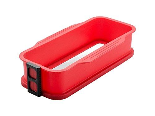 Backform rechteckig Silicon rot mit Glasboden Rotic