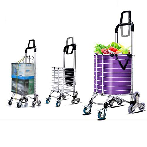 QXTT Folding Shopping Cart Trolley Grocery Utility Climbing Carts With Wheel Lightweight Larger Storage Stainless Steel Frame