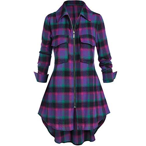 Chaqueta de Camisa a Cuadros Retro para Mujer, Camisa de Solapa a Juego de Colores Irregulares con Costuras a la Moda con Cremallera y Bolsillos 4XL