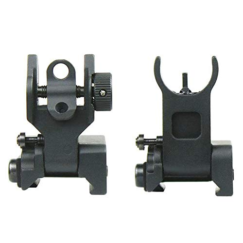 Tianzi Flip Up Iron Sights Front Sight + Back Up Sight Set Dual Aperture BUIS,Low Profile for Picatinny & Weaver Rails,Black
