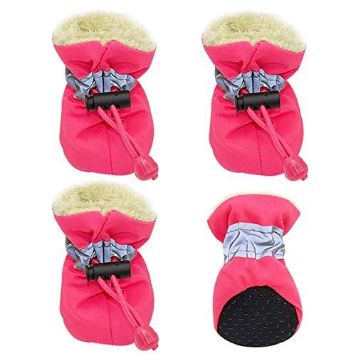 EMFGJ Bottes de chien patte protecteur hiver chaud chaussures de chien de compagnie chaussures de chien antidérapantes chaussures de chien confortables à semelles souples pour petits chiens,Rose rouge