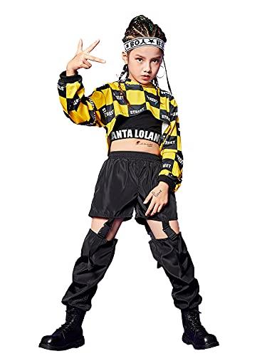 3 Piezas de Ropa de Hip Hop para niñas, Traje de Baile Callejero, Sudadera con Capucha Recortada, Camiseta sin Mangas, Pantalones Cargo