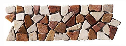 BO-334 Marmor Mosaikfliesen Bordüre Bruchstein Fliesen Lager Verkauf Stein-mosaik Herne NRW Natursteinmosaik
