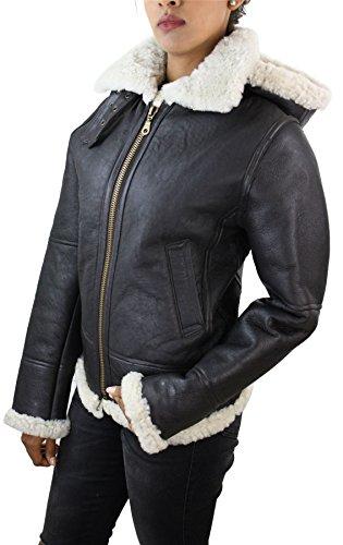 Giacca Invernale da Donna in Vera Pelle di Montone Shearling e con Cappuccio bianco-marrone l