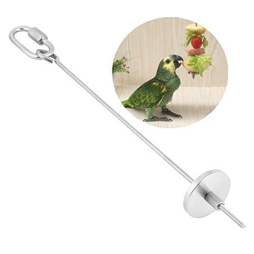 Papageien Spieß, Edelstahl Papagei Obst Gemüse Fleisch Lebensmittel Stick Halter Kleintier Vogel Stall Käfig Futtersuche Spielzeug Papageien Behandlung Werkzeug (L)