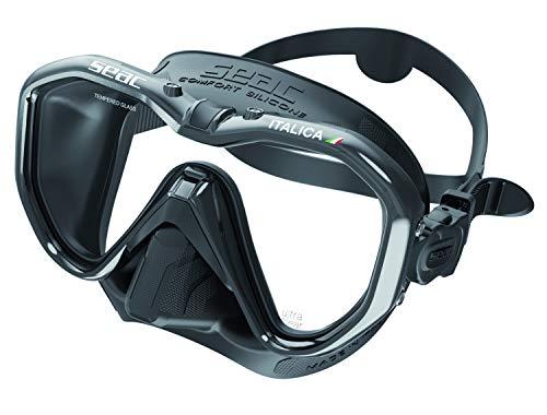 Seac Unisex– Erwachsene Italica Einglasmaske fuers Maske für professionelles Tauchen, Freizeit und Schnorcheln, hohe Qualität Made in Italy, schwarz/schwarz Metal, Regular Fit