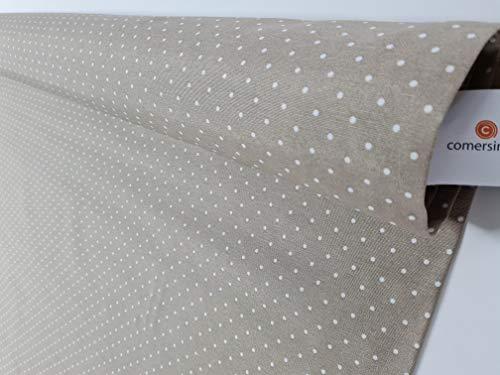 Loneta estampada Lunares blancos Color Moka [Bonita loneta por metros para tapizar sofás o cortinas] {100CMx280CM}
