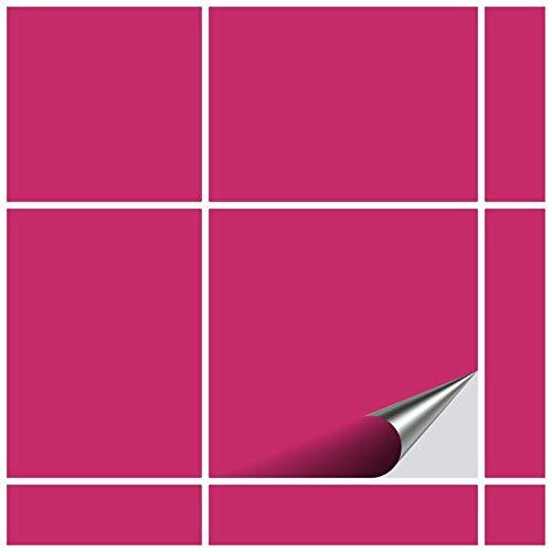 FoLIESEN Fliesenaufkleber 15x15 cm - Fliesen-Folie Bad - Klebefolie Küche - 50 Klebefliesen, Pink glänzend