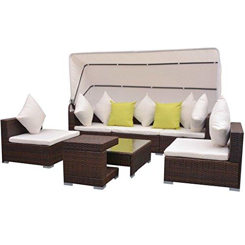Susany Conjunto Muebles de Jardín de Ratán 23 Piezas con Cojines y Capota Toldo,Sofa Jardin Exterior para Patio Balcón o Jardín,Poli Ratán Marrón