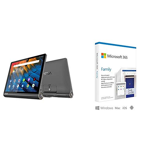 Lenovo YOGA Smart Tab 25, 5 cm (10, 1 pollici Full HD IPS Touch) Tablet PC (Qualcomm + Microsoft 365 Family | 6 Persone | Box