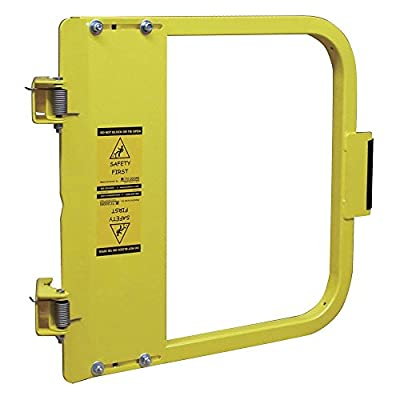 """PS DOORS LSG-33-PCY Ladder Safety Gate Mild Carbon Steel, Powder Coat Yellow, Fits Opening 31-3/4"""" to 35-1/2"""", Each"""