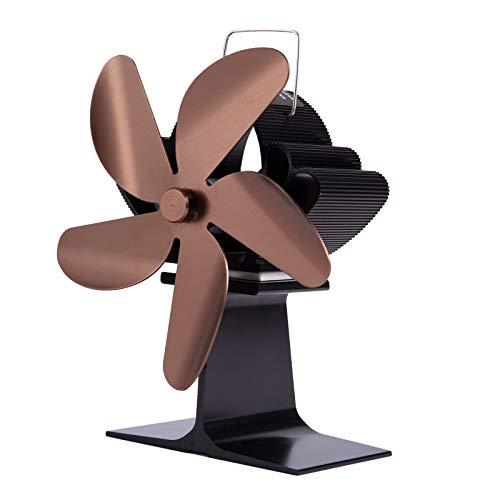 Gazechimp Ventilador de Estufa de Calor, Ventilador de 4 Chimeneas con Detección Automática para Madera/Estufa de Leña /, Ventilador de Estufa - de Bronce, Individual