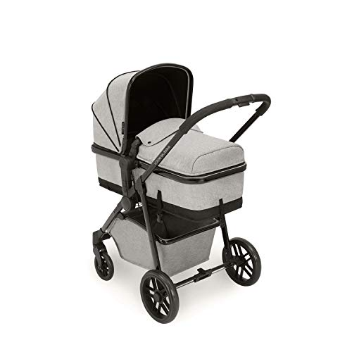 Ickle Bubba Stroller, Baby Travel System | Bundle incl Rear and Forward-Facing Pushchair, Car Seat, Carrycot, Footmuff and Raincover | Moon 3-in-1, Silver Grey
