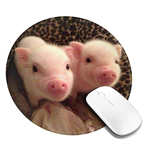 Niedliches kleines Spanferkel Mauspad Runde Gaming Mousepad Personalisierte Kunstdruck Mauspad für Computer Laptop & PC für Schreibtisch Office