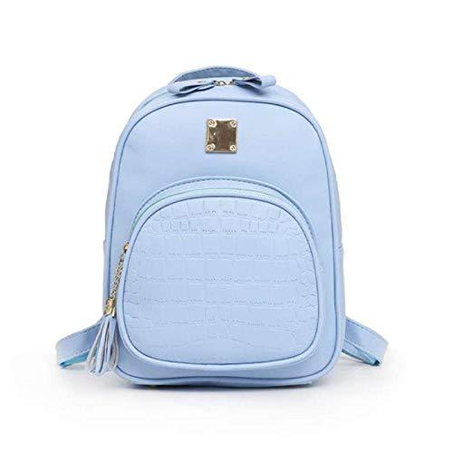Mochila de piel de cocodrilo para mujer, de piel de cocodrilo, para colegio, para niñas, estudiantes, azul (Azul) - 9876378956727