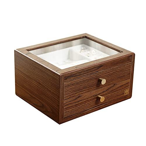 XTXY Caja De Almacenamiento De Anillos De Madera con Cajón, Caja De Joyería, Caja De Joyería, Caja De Almacenamiento De Exhibición De Gran Capacidad, Regalo para Mujeres Y Niñas