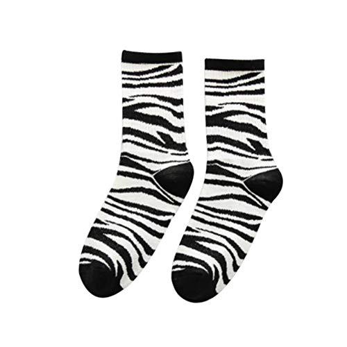 Outflower 1 Paar Retro beiläufige Kuh-Zebra-Socken für die Straße, Hip Hop-Skateboard-Socken
