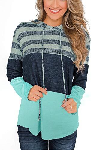 SMENG womens hoodies fall fashion for women 2021 long sleeve striped colorblock sweatshirt hoodie women's fall tops ladies sweaters green L