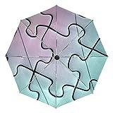 Petit Parapluie de Voyage Coupe-Vent extérieur Pluie Soleil UV Auto Compact 3 Plis parapluies Couverture - Jeu de Puzzle Jeu numéro modèle Ligne Jouet
