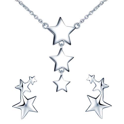 Yumilok conjunto de joyas de collar y pendientes, collar con colgante de estrella y pendiente de estrella en plata 925 para mujer niña, collar en Y y pendientes de botón
