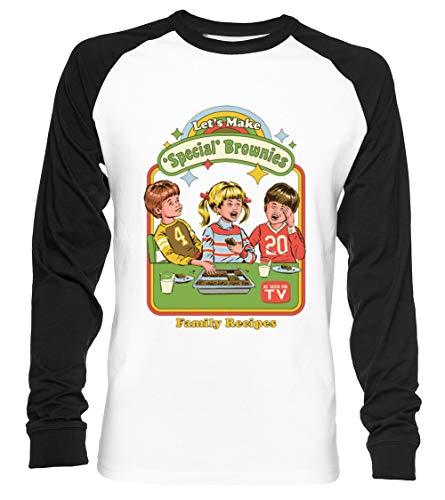 Let's Make Brownies - Funny Unisex Camiseta De Béisbol Manga Larga Hombre Mujer Blanca Negra