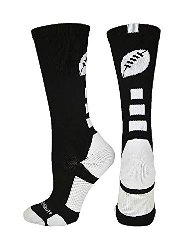 MadSportsStuff Football Logo Crew Socks (Black/White, Small)