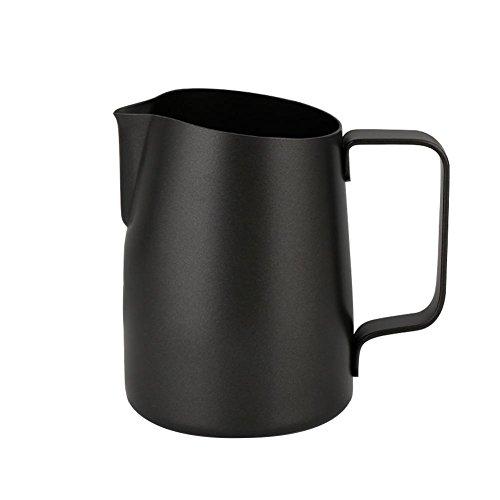 Zerodis Pichet à Lait en Acier Inoxydable 450ml,Pot à Lait Latte Café Cruche Fabrication d'art Tasses Non-bâton Accessoire Cuisine Café Hôtel(Noir)