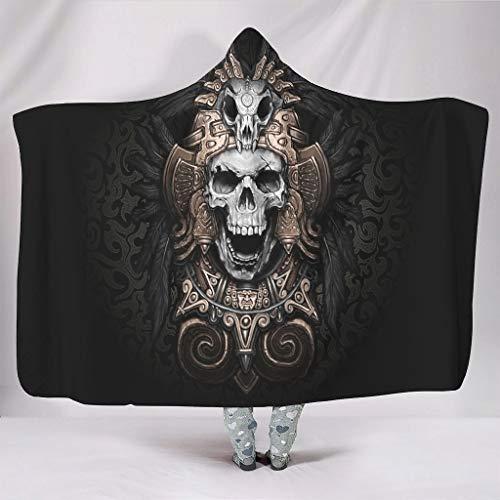 Manta con capucha para invierno con diseño de cascabel vikingo (150 x 200 cm), color blanco