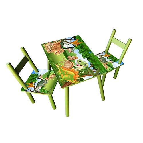 HTI-Line Kindertischgruppe Dinos Kindermöbel Kinderstuhl Kindersitzgruppe Holzsitzgruppe Kindertisch mit 2 Stühle Sitzgruppe für Kinder Vorschüler Kleinkinder