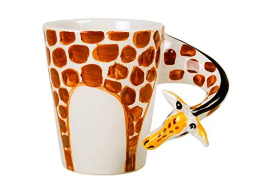 Giraffe Kaffeetasse handgefertigt Keramik Orange 225g (10cm x 8cm)