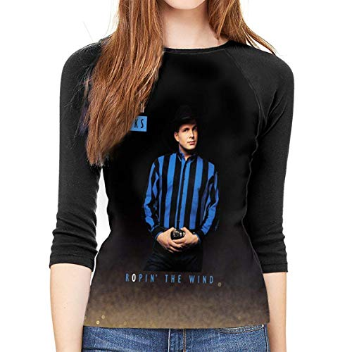hdghg Camisetas de Manga 3/4 para Mujer,Camisetas para Mujer,Womens Garth Brooks Ropin' The Wind 3/4 Sleeve Raglan Baseball T-Shirt Black Graphic Ladies tee Tunic Tops