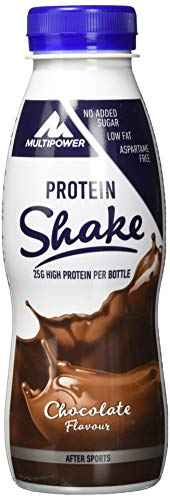Multipower Protein Shake Chocolate - fett- und kalorienarmer Fitness Shake zur Regeneration nach dem Sport - Eiweißshake mit Schoko-Geschmack, 12 x 330 ml