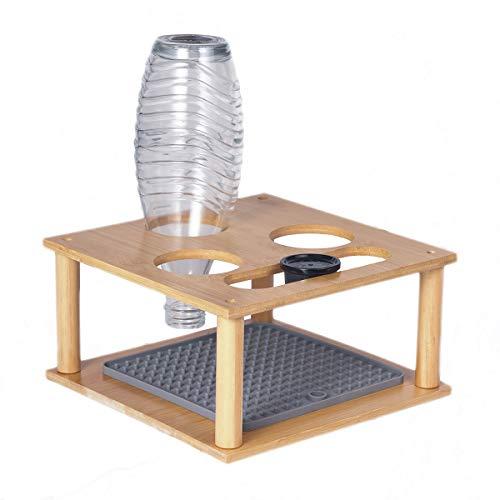 SkingHong Flaschenhalter für Soda Stream 3-Flaschen, Bambus Abtropfhalter Abtropfständer mit Abtropfmatte/Silikon Abtropfmatte für Emil Flasche
