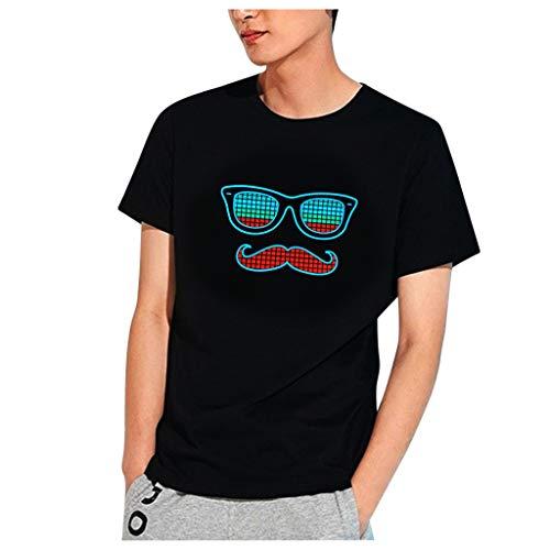 Yue668 – Camiseta de Manga Corta con diseño de Gafas de Sol y Barba, para Men Party Disco DJ Sound activada LED Light Intermitente Camiseta Luminosa Negro S