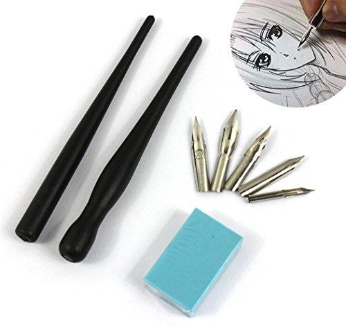 Hillento ensemble comique dessin animé manga stylo plongeur, dessin outil de kit de peinture, deux poignées de porte-stylos noirs, cinq pointes, un morceau de gomme à effacer le dessin