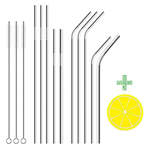 Stainless Steel Straws, Airfrey Set of 10 Metal Drinking Straws with Cleaning Brush for 20 30 40 oz Tumblers, Reusable Straws Fit All YETI OZARK TRAIL SIC & RTIC Tumblers Cups Mugs (13 pcs)